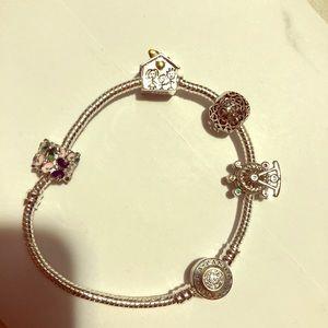 Pandora bracelet w/4 charms